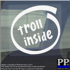 1 x Troll Inside-Window,Car,Van,Sticker,Sign,Vehicle,Face,Meme,Joke,Funny,Joker